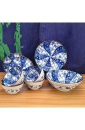 WY-YAN Keramikgeschirr 8 Satz große Suppenschüssel × 1 + mittlere Platte × 2 + Medium Bowl × 4 + Kleine Platte × 1