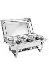 RANZIX Chafing Dish Profi Set Edelstahl Warmhaltebehälter Buffet-Set Speisewärmer Wärmebehälter Rechaud Chafing Dishes Speisenwärmer für Catering Buffet und Party (Style 4)