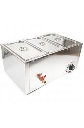 SHIOUCY Pfanne Buffet Essen Wärmer Speisenwärmer Wasserbad Buffetwärmer - elektrisch mit Heizplattenfunktion 3x7L Temperaturregler Edelstahl Warmhaltegerät Speisewärmer