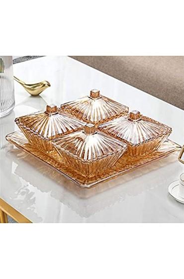4 Sektion Kristallglas Snack Teller 4 Gitter Obstteller Küche Serviergerichte Süßwaren Snacks Trockenfrüchte Organisation von 4kg Teller Home Decorations Amber