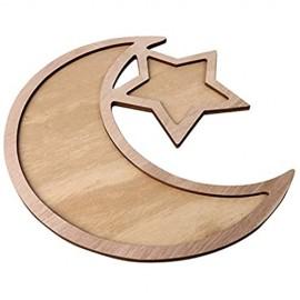 Benedict Holz Eid Mubarak Serviertablett Abnehmbares Ramadan Ornament DIY Dessert Geschenk für Muslime/Wooden Eid Mubarak Serving Tray Detachable Ramadan Ornament DIY Dessert Gift for Muslim