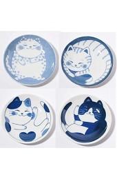 Japanisches kleines Teller-Set Keramik süße Katzen-Design Vorspeise Dessert Sushi-Sauce 10 x 2 cm 4 Stück