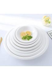 AABBC -Style Restaurant Fashion Dinner Teller Keramik rutschfeste Platte Boden Große Scheibe Geschirr ins Wind Weiß Porzellan Dicke Kante-10 Zoll Runde Platte mit dicken Seiten
