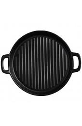 epoxios Binaural Rundes Pizzablech aus Keramik Aufbewahrungstablett kreative Tabletts dekorativer Mikrowellen-Ofen kann beheizt werden Backen Essgeschirr (Schwarz-L)