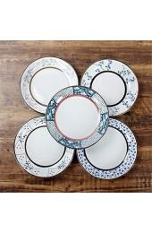 Japanische antike Keramikgeschirr Keramik Teller Handgemalte Unterglasur Farbe 8 Zoll Reisplatte Stern Punkt 21 cm Abendessen YMIK