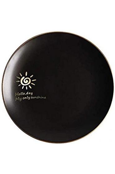 KEKEYANG Keramik Scrub Westteller Obstteller Gold-Side Plate Shallow Pan Nordic Kreative Geschirr Schwarz O 8 Zoll Platten