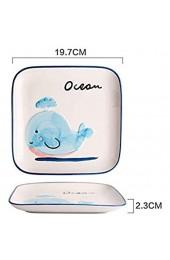LYLSXY Kreative Schüsselplatte Keramikgeschirr Haushalts-Cartoon-Blauer Wal-Geschirrteiler Nette Gerichte Blue Whale 8 Zoll Quadratische Platte