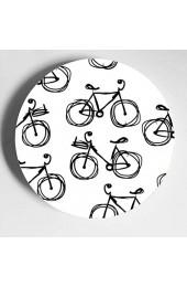 Nette Retro Fahrräder Blumen Günstige Keramikplatten Dekorplatte Home Wobble-Platte Mit Display Stand Dekoration Haushalt Keramikplatte