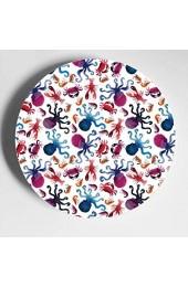 Niedliche Krake mit Algen und Fischen Keramikplatte dekorative Keramikplatten Home Wobble-Platte mit Display Stand Dekoration Haushalt Bunte Keramikplatten