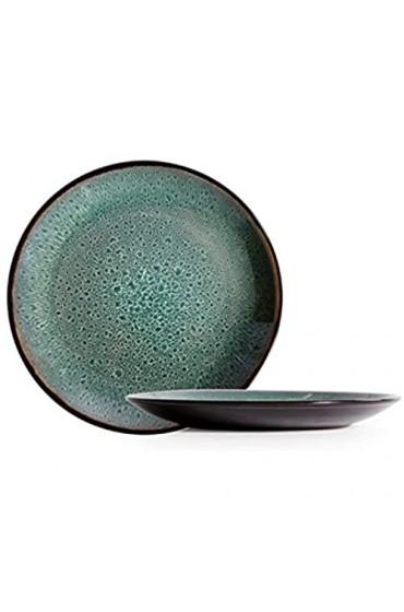 SHASHA Malachitgrüner Ofen glasierte Keramikplatte kreative westliche Steakplatte Obstsalatplatte Geschirr zum Kochen Küche Bankett und täglichen Gebrauch (8in)