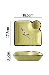 YHX Knödelplatte mit Schneeflockenelement im japanischen Stil Keramikfachplatte mit Essigschale kreative quadratische Knödelplatte(Color:A)