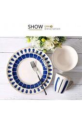 ZEH Europäischer Stil Kreative Keramikplatte Runde Blaue Regentropfenförmige Randbesteck Set Umweltschutzplatte Schüssel Becher FACAI