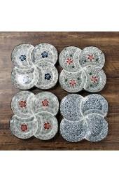 ZSM Japanische antike Keramikgeschirr Keramikgitterplatte Handgemalte Unterglasur Farbe Vier Gitter Gerne Blumen 24x3cm Abendessen YMIK