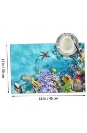 Aeykis Dingl Underwater World Mit Korallen Und Tropischen Fischen Tischset Waschbar rutschfest Für Küche Tischset Einfach Zu Reinigen