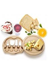 COSTWAY Käsebrett mit 4tlg. Besteck Käseset aus Holz Käseplatte multifunktional Käsemesserset Käseschneidbrett Käsemesser Set Servierplatte