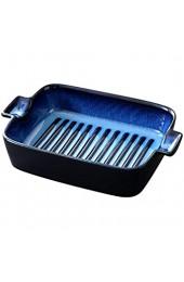 Geschirr Haushalt Keramik Ohren Backblech rechteckig kreative Käseplatte Backen Geschirr Backofen Mikrowellenofen Verfügbar 9 Inch Blue (Color : A)