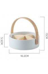 Home Decor- Nordic Ceramic 4 Grid Obstteller Nuss Teller Kreative mit Griff Compartment Dried Fruit Platter Box Heim Snack Food Storage Tray Wanddekor für Wohnzimmer ( Color : White S 16.2x5.5cm )