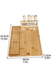 L-M-Yang Bambus-Käse-Brett-Set Bambus-Käse-Schneidebrett Charcuterie-Platte die Fleischbrett Käseschneider Küchenkochwerkzeuge serviert
