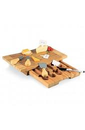 L-M-Yang Bambus Käsebrett Set Käse Schneidebrett ausziehbare Schublade Servierteller Tablett Schneidebrett Servierutensilien für Weihnachten Hochzeit Geburtstag Jubiläum