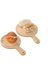 N/AO Hochwertiges natürliches Bambus-Pizzatablett Multifunktions-Pizzaboard Pizzapaddel mit Pizzagriff Brot geschnittenes Obst Gemüse Käse-15 * 20round