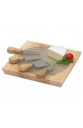 Tops Käse Messerset mit Käsebrett Holz mit Glasplatte 4 teilig Käse Messer für dünne Scheiben Käseplatte 23x23x2 4 cm