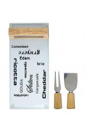 Unbekannt Käsebrett Via Käseplatte Magnethalter Käseschneider 3 TLG Schneidebrett Käsemesser 30 0 x 13 8 x 4 4 cm Käseschneidebrett