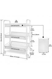 AGJFeng Wohnzimmer 3 Schichten Lagerwagen Mit Rollen Servierwagen Mit 2 Bremsen Einfache Montage Für Küche Schlafzimmer Büro (Color : White Size : 45 * 27 * 63 cm)