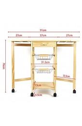 Wefun Küchenwagen Faltbar Tischplatte besteht aus Holz und Keramik mit 2 Metallkörben & 1 Schublade