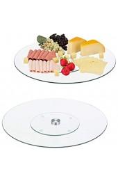 Relaxdays 2 x Servierplatte XL 360° drehbar Käse Snacks Kuchen rund ∅ 45 cm Glas Tortenplatte transparent/Silber