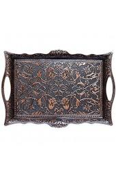 Alisveristime Türkisches Ottoman-Tablett für Kaffee Tee Getränke quadratisches Serviertablett (Kupfer)