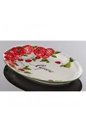 Bassano Ausgefallene italienische Keramik ovale Tomaten Caprese Servierplatte 30x19