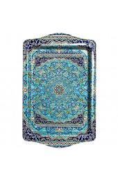BOHORIA® Premium Design Serviertablett - Dekorative Servierplatten für Glas Tassen Schälchen auf ihrem Holz- Glas- oder Stein-Esstisch (Blue Morocco)