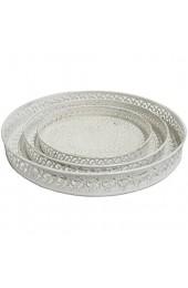 DRULINE Tablett rund Metall Landhaus Vintage Antik Ablage Braun Shabby Chic (Weiß 3er Sparset)