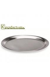 Kerafactum Oval Serviertablett Servierplatte Tablett aus Edelstahl 33 0 cm matt poliert mit gebördeltem Rand klein zum servieren Spülmaschinenfest - Service Tray