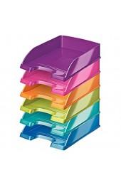Leitz 52263099-6 Briefkorb WOW A4 blau eisblau orange grün violett und pink (6 metallic Farben | 6 Stück)