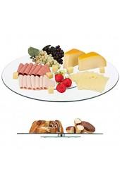 Relaxdays XL Servierplatte 360° drehbar Käse Snacks Kuchen rund ∅ 45 cm Glas Tortenplatte transparent/silber