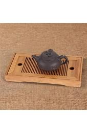 Tee-Tablett Serviertablett Chinesisch / Japanischen Gongfu Teetablett aus Bambus für Teehaus Home Office 27 x 14 x 3 cm
