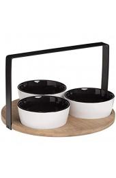 SECRET DE GOURMET 3er Set Keramik Tapas Servierschale mit Holztablett