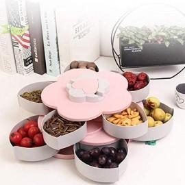 SHYPT 2-Lagen-rotierender Blütenblatt-Süßigkeitskasten-Kunststoff-Snack-Fach-Koffer-Mutter Aufbewahrungsbox Rotation Getrocknete Fruchtplatte Hochzeitsgeschenk Home Organizer (Color : A)