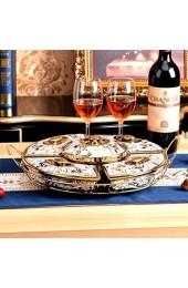 WeiLuShop Snack-Tellermutter Servierplattenmutter-Bowl-keramische Snack-Platte Geteilte Mutterplatte mit Deckel Home Wohnzimmer Süßigkeitenplatte (Color : Gold Size : 32 * 10cm)