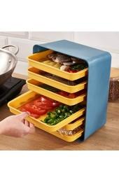 BESTonZON 1 Set von Küche Wand Montiert Tray Rack Küche Multi Schicht Beilage Platten Küche Liefert Speicher Set Blau