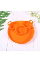HEMOTON Piggy Baby Silikon Teller Teller gegen Verbrühung Anti-Tropfen Anti-Spieß und geschmackssichere Separation Side Dish (Orange)
