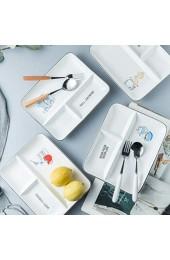 HEMOTON Rechteckige Trennplatte Keramik Fruchtsnack Baby-Teller Gitterplatte (Toast) Küche