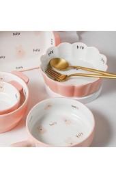 Karikatur-Kaninchen-Keramik-Backgeschirr Käse Gebackener Reis Tellerbacken Besteck Binauraler Teller Haushalts-Backschüssel (Color : Pink Size : 14.5 * 14.5 * 4.5cm)