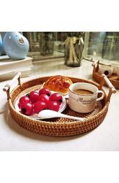 zhiwenCZW Runder Rattan-Ablagefachkorb mit handgewebtem Brotfrucht-Obst-Frühstücks-Displayhalter