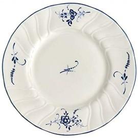 CREAFLOR Villeroy & Boch Vieux Luxembourg Brotteller 4er Set 16cm weiß blau Porzellan