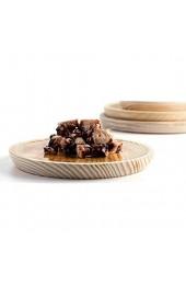 Ruibal Holz-Teller Set mit 6 - Ø 30 cm Kiefer in Spitzenqualität ideal zum Essen in der Galizie Oktopus