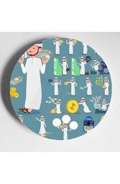Verschiedene chemische oder biologische Werkzeuge Niedliche Keramikplatte Niedliche dekorative Platte Home Wobble-Platte mit Display Stand Dekoration Haushalt Party Dekorationen Platten