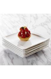 MALACASA Serie Carina 18 teilig Set Cremeweiß Porzellan Kuchenteller Dessertteller Frühstücksteller 20 5x20 5x2cm für 6 Personen