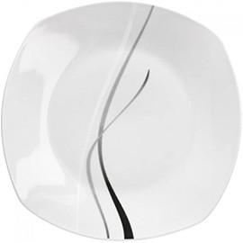 Van Well 6er Set Dessertteller Silver Night Kuchenteller Kleiner Speiseteller 185 x 185 mm Servierteller Porzellan abstraktes Dekor Gastro-Geschirr